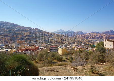 Cityscape Of Wadi Musa. It Is The Nearest Town To The Archaeological Site Of Petra, Wadi Musa, Jorda