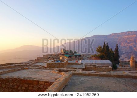 Dana Village During Sunset In The Dana Biodiversity Nature Reserve In Jordan, Middle East