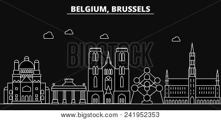 Brussels Silhouette Skyline. Belgium - Brussels Vector City, Belgian Linear Architecture, Buildings.