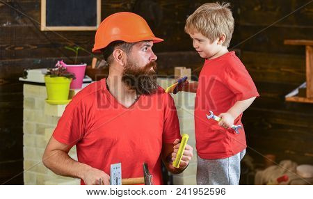 Boy, Child Cheerful Holds Spanner Wrench, Learning Use Tools With Dad. Father, Parent With Beard In