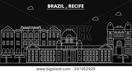 Recife Silhouette Skyline. Brazil - Recife Vector City, Brazilian Linear Architecture, Buildings. Re