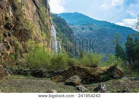 A Small Waterfall Near The Village Of Tal, Nepal.