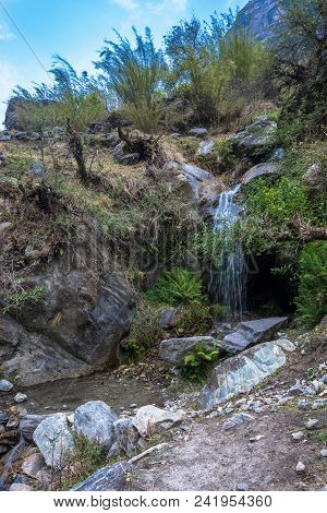 Beautiful Small Waterfall On Spring Day, Nepal.