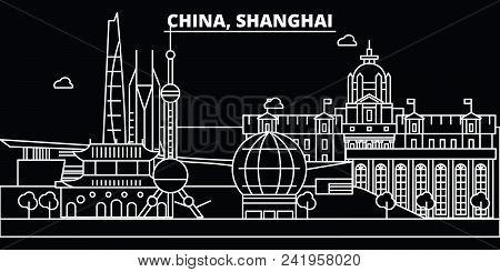 Shanghai City Silhouette Skyline. China - Shanghai City Vector City, Chinese Linear Architecture, Bu