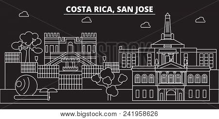 San Jose Silhouette Skyline. Costa Rica - San Jose Vector City, Costa Rican Linear Architecture, Bui