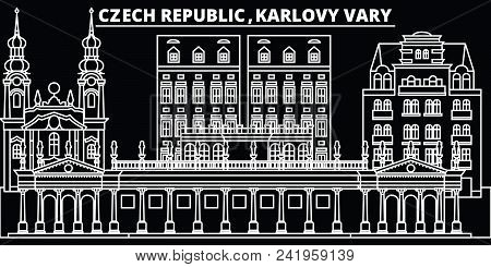 Karlovy Vary Silhouette Skyline. Czech Republic - Karlovy Vary Vector City, Czech Linear Architectur
