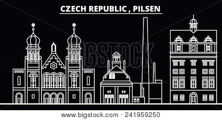 Pilsen Silhouette Skyline. Czech Republic - Pilsen Vector City, Czech Linear Architecture, Buildings