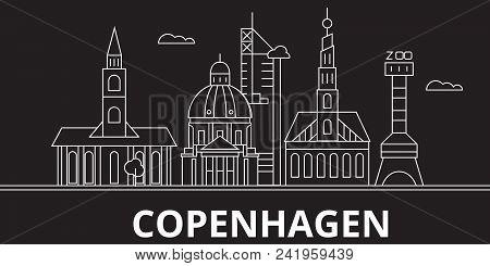 Copenhagen City Silhouette Skyline. Denmark - Copenhagen City Vector City, Danish Linear Architectur