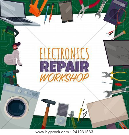 Colored Electronics Repair Poster With Electronic Repair Workshop Headline And Different Tools Sprea