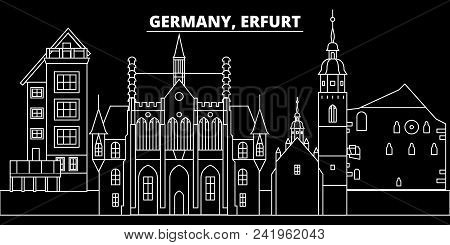 Erfurt Silhouette Skyline. Germany - Erfurt Vector City, German Linear Architecture, Buildings. Erfu