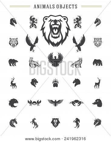 Animals Silhouettes Objects Vector Design Elements Set Vintage Style Isolated On White. For Logos Ba