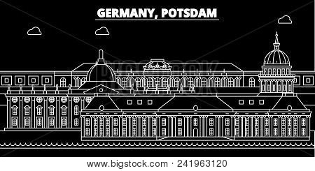 Potsdam silhouette skyline. Germany - Potsdam vector city, german linear architecture, buildings. Potsdam line travel illustration, landmarks. Germany flat icon, german outline design banner poster