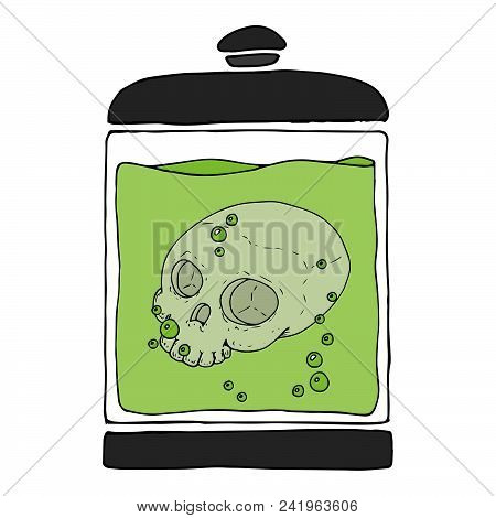 Medical Jar With A Skull In A Liquid. Skull Without Lower Jaw. Fluid With Bubbles. Vector Illustrati