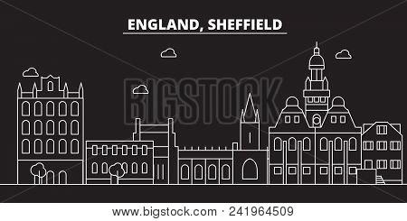 Sheffield Silhouette Skyline. Great Britain - Sheffield Vector City, British Linear Architecture, Bu