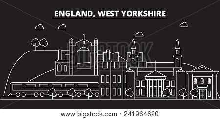 West Yorkshire Silhouette Skyline. Great Britain - West Yorkshire Vector City, British Linear Archit