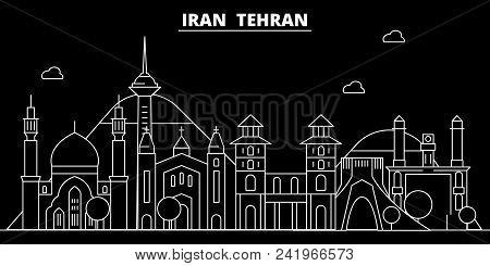 Tehran Silhouette Skyline. Iran - Tehran Vector City, Iranian Linear Architecture, Buildings. Tehran