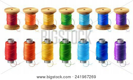 Vector Realistic Set Of Wooden And Plastic Bobbins, Spools With Colored Thread Isolated On Backgroun