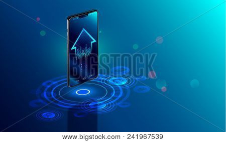 Smartphone With Digital Logo Smart Home Stand At Iot Icons. Smart Phone Controls Devices Of Smart Ho