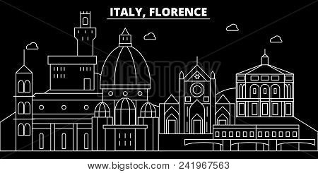 Florence City Silhouette Skyline. Italy - Florence City Vector City, Italian Linear Architecture, Bu