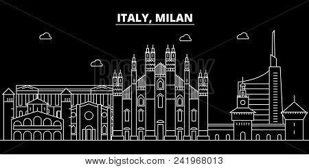 Milan City Silhouette Skyline. Italy - Milan City Vector City, Italian Linear Architecture, Building