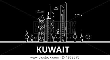 Kuwait Silhouette Skyline, Vector City, Kuwaiti Linear Architecture, Buildings. Kuwait Line Travel I