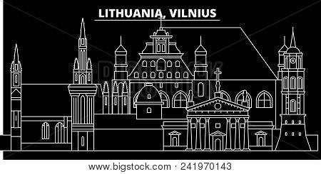 Vilnius Silhouette Skyline. Lithuania - Vilnius Vector City, Lithuanian Linear Architecture, Buildin