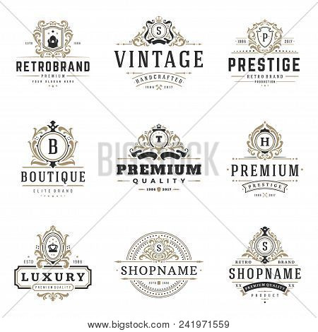 Luxury Monogram Logos Templates Vector Objects Set For Logotype Or Badge Design. Trendy Vintage Roya