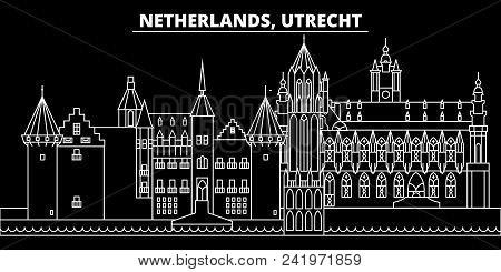 Utrecht Silhouette Skyline. Netherlands - Utrecht Vector City, Dutch Linear Architecture, Buildings.