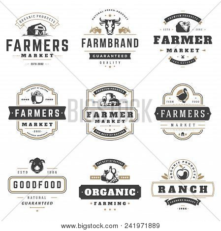 Farmers Market Logos Templates Vector Objects Set. Logotypes Or Badges Design. Trendy Retro Style Il