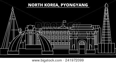 Pyongyang Silhouette Skyline. North Korea - Pyongyang Vector City, Korean Linear Architecture, Build