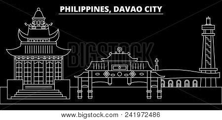 Davao City Silhouette Skyline. Philippines - Davao City Vector City, Filipino Linear Architecture, B
