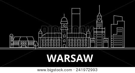 Warsaw City Silhouette Skyline. Poland - Warsaw City Vector City, Polish Linear Architecture, Buildi