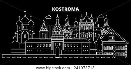 Kostroma Silhouette Skyline. Russia - Kostroma Vector City, Russian Linear Architecture, Buildings.