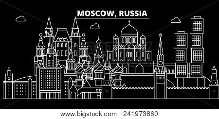 Moscow City Silhouette Skyline. Russia - Moscow City Vector City, Russian Linear Architecture, Build