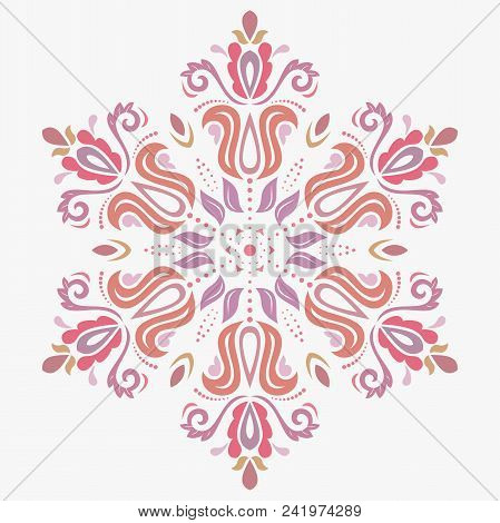 Oriental Round Colored Pattern With Arabesques And Floral Elements. Traditional Classic Ornament. Vi