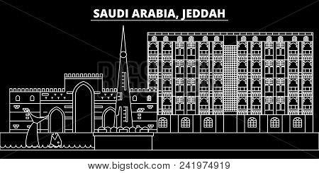 Jeddah Silhouette Skyline. Saudi Arabia - Jeddah Vector City, Saudi Arabian Linear Architecture, Bui