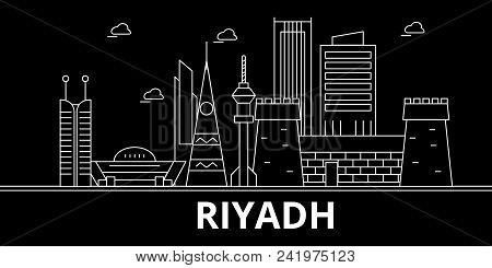 Riyadh Silhouette Skyline. Saudi Arabia - Riyadh Vector City, Saudi Arabian Linear Architecture, Bui