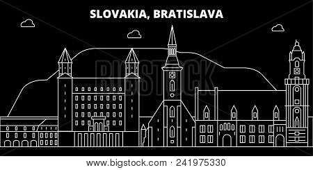 Bratislava Silhouette Skyline. Slovakia - Bratislava Vector City, Slovakian Linear Architecture, Bui