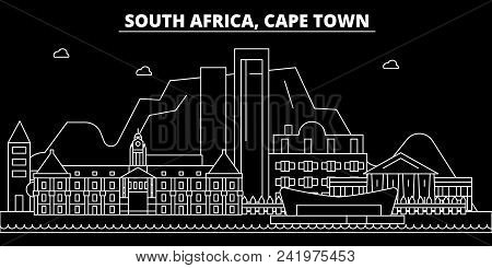 Cape Town Silhouette Skyline. South Africa - Cape Town Vector City, South African Linear Architectur