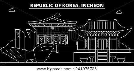 Incheon Silhouette Skyline. South Korea - Incheon Vector City, Korean Linear Architecture, Buildings