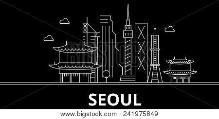 Seoul Silhouette Skyline. South Korea - Seoul Vector City, Korean Linear Architecture, Buildings. Se