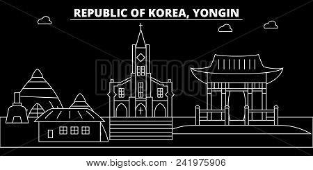 Yongin Silhouette Skyline. South Korea - Yongin Vector City, Korean Linear Architecture, Buildings.