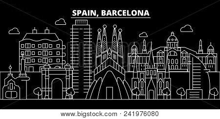 Barcelona City Silhouette Skyline. Spain - Barcelona City Vector City, Spanish Linear Architecture,