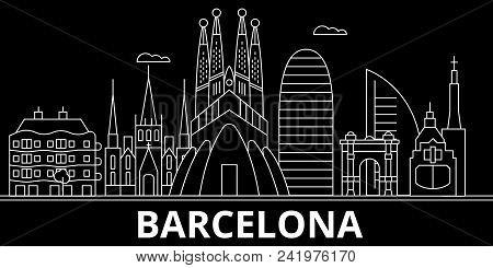 Barcelona Silhouette, Skyline. Spain - Barcelona Vector City, Spanish Linear Architecture, Buildings