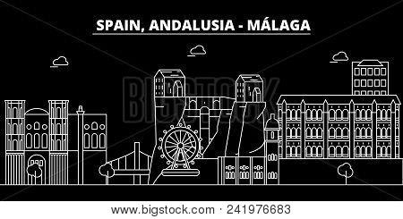 Malaga, Andalusia, Silhouette Skyline. Spain - Malaga, Andalusia Vector, City, Spanish Linear Archit