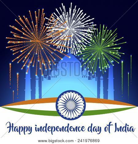 Happy Indian Republic Day Concept With Beautiful Fireworks In National Flag Colors On Grey Backgroun