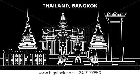 Bangkok Silhouette Skyline. Thailand - Bangkok Vector City, Thai Linear Architecture, Buildings. Ban