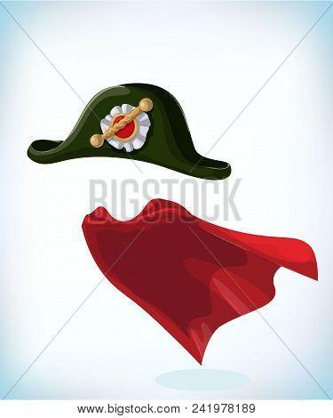 French Napoleon Bonaparte Tricorn Hat. Black Tricorn. Masquerade Costume Headdress. Carnival Or Hall