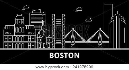 Boston City Silhouette Skyline. Usa - Boston City Vector City, American Linear Architecture, Buildin
