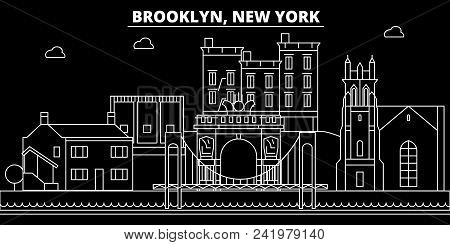 Brooklyn Silhouette Skyline. Usa - Brooklyn Vector City, American Linear Architecture, Buildings. Br
